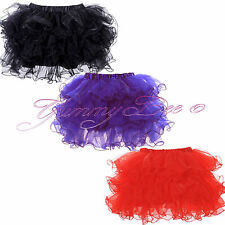 Frilly Tutu Skirt Fancy Dress Party Burlesque Womens Ra Ra Tulle Short Plus Size