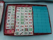 Vintage Mahjong Set 160 tiles Chinese Blue Colour  Cased Mah Jong