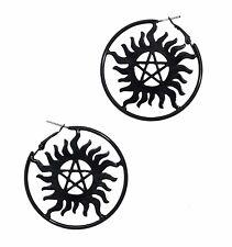 Supernatural ANTI-POSSESSION SYMBOL BLACK HOOP EARRINGS Officially Licensed New