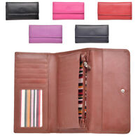 Ladies Large Leather Purse Wallet with Zipped Coin Section Soft Fabric Lining