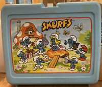 Vintage 1980's SMURFS Plastic Lunch Box + Thermos