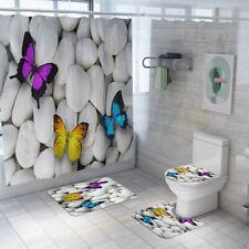 4Pcs Bathroom Polyester Shower Curtain Non Slip Lid Toilet Cover Rugs Mat Set