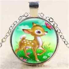 Cartoon Elk & Butterfly Cabochon Glass Tibet Silver Chain Pendant Necklace