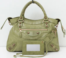 BALENCIAGA Town Rose Gold Giant 12 Studs Light Olive Green Crossbody Handbag Bag