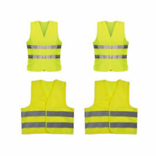 Yellow Hi Vis High Viz Visibility Vest Waistcoat Jacket Adult Childs x4 Car