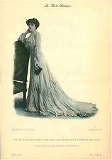 """Publicité Ancienne """" La Mode Pratique -Toilette de Diner Genre Empire No 51 1902"""