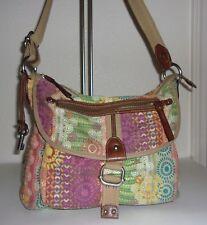 Fossil Multicolor Print Cotton Crossbody Shoulder Bag Purse Handbag