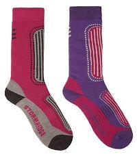 Storm Ridge Ladies 2 Pack Ski Socks UK 4-7 Pink & Purple