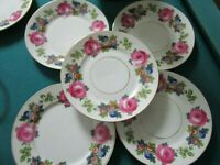 "PHOENIX ZCHEKOSLOVAKIA 5 FLORAL SALAD PLATES 7 1/2"" ROSES AND GOLD"