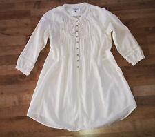 H&M Longbluse Bluse Tunika Kleid Blusenkleid weiß creme Stickerei Spitze, 36-38