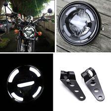 Motorcycle White LED  Hi/Lo Beam Headlight With Fork Mounted Adjustable Bracket