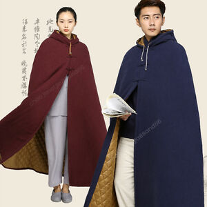 Warm Thicken Long Robe Jackets Mens Fleece Lined Hooded Cape Buddhist Monk Cloak