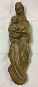 Statuette Religieuse en BOIS SCULPTE Decoration Interieure Art Femme Enfant R11