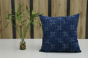 Indigo Hand Block Mudcloth Printed Cushion Cover Ethnic Cotton Rug Pillow Case