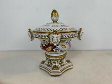 Chelsea House Porcelain Centerpiece Potpourri Urn w/ Faces & Floral Decoration