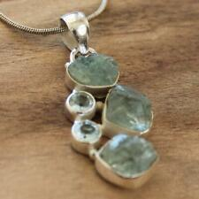 100% 925 Solid Sterling Silver Rough Blue Aquamarine Natural Stone Pendant