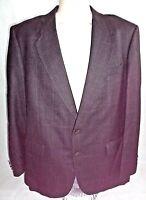 C&R CLOTHIERS 42R Mens Sportcoat Black Jacket Wool/Silk Blend 2 Button No Vent