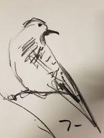 JOSE TRUJILLO - Original Charcoal Paper Sketch Drawing 9X12 Bird Contemporary