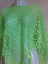 NEW LACE GREEN CROCHET PONCHO SHAWLS STOLE GIFT NIGHT PARTY  SCARVES VINTAGE
