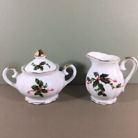 Lefton Christmas Creamer & Covered Sugar Bowl Set Holly Vtg Japan 03027 in Box