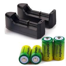 4pcs 1800Mah Li-ion 16340 CR123A Rechargeable Battery Batteries + 2pcs Charger