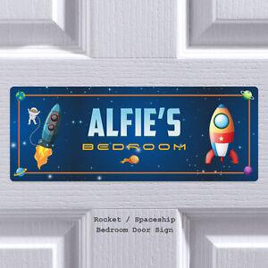 Personalised Rocket Spaceship Door Sign Plaque Kids Bedroom Son Custom Name Gift