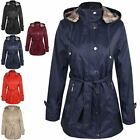 New Summer Mac Jacket Womens Ladies Coat Smart Belted Fitted Trench Parka Size