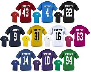 Kids Personalised Sports T-Shirt Customised Printed Varsity Football Team Number