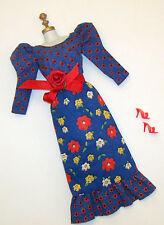Vintage Barbie Doll Blue Print Peasant Midi Dress #3343 Best Buy 1973 Red Shoes