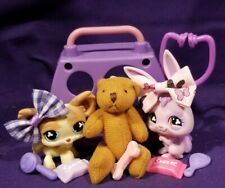 Littlest Pet Shop RARE 764 765 Chihuahua Rabbit Purple Pink Blue Clover Eyes set