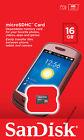 SanDisk 16GB microSD micro SD SDHC class 4 C4 16G microSDHC SDSDQ-016G Retail**