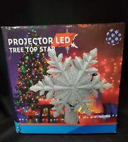 Rotatable LED Star Christmas Tree Topper Snowflake Projector Light Lamp Decor