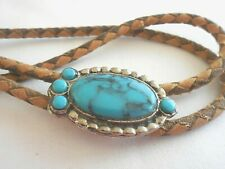 Vintage Turquoise Colored Set Bolo Slide Tie is Brown Leather