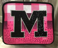 Justice Girls Lunch Box Bag Tote ~ Initial M ~ Pink Black Plaid Sequin - VGUC