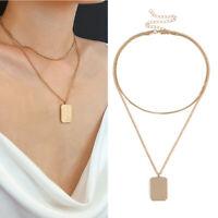 Boho Women Multi-layer Gold Long Chain Pendant Choker Necklace Jewelry Gift*