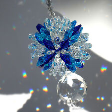 Blue Crystal Glass Suncatcher Rainbow Maker Prisms Drop Gift Rainbow Maker Decor