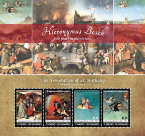 St. Vincent 2016 - Hieronymus Bosch, Paintings, Art - Sheet of 4 Stamps - MNH