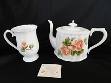 Heirloom Quality Hand Painted Rose Individual Teapot and Cup