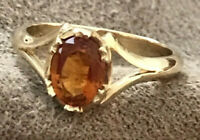 NATURAL MADEIRA CITRINE RING  SIZE 7 U.S  SET IN SOLID 9k YELLOW GOLD