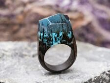 Wood resin ring Soul of the Forest Handmade jewelry Epoxy resin rings for women