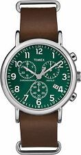 "Timex TW2P97400, ""Weekender"" Brown Leather Watch, Chronograph, Green Dial, Date"