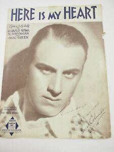 Russ Columbo (1908-1934) Avec Frank Horst Actor Dédicacé Here Est Mon Cœur