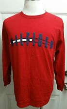 Men's Vintage Tommy Hilfiger Red Spell Out Long Sleeve T-Shirt Size Medium