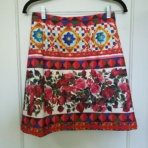 D&G Inspired 38 Skirt S UK 8 Floral Red Mambo print Mini Short