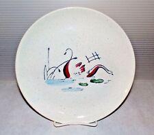 "Mid Century Vintage Faienceries Continental Riviera Swan Luncheon Plate 9 1/2"""