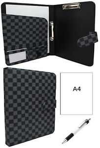 British A4 Organiser Document Leather Paper Ring Binder Folder Tablet Gift 503