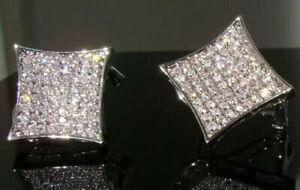 NEW HIP HOP EARRINGS $150 Mens XXL SIMULATE DIAMOND Micro Pave 14K White Gold GP