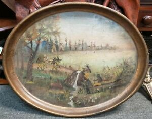 Ca. 1767 American Sir William Johnson/Mohawk Indians Hand Painted Toleware Tray