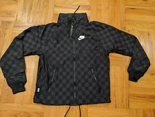 NWT NIKE AIR HOODED WINDRUNNER JACKET CHECKERED NSW sz S SMALL BLACK PACKABLE