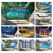 Vlies Fototapete 3D Fensterblick Insel Wasserfall Wald Natur See Wohnzimmer